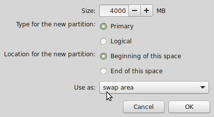 Linux Mint 17 create swap partition