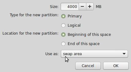 Linux Mint 17 create swap partition