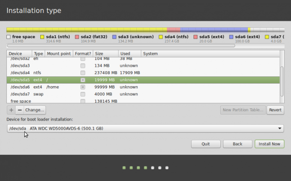 Linux Mint 17 GPT partitions