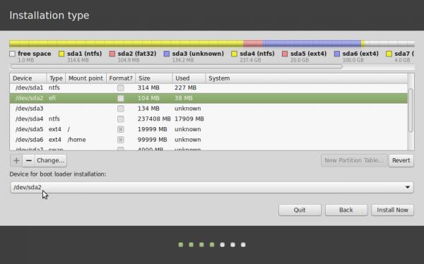 Linux Mint 17 EFI partitions