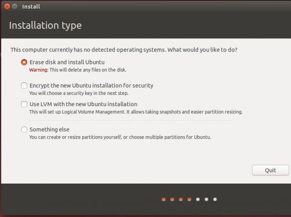 Ubuntu 14.04 partition type