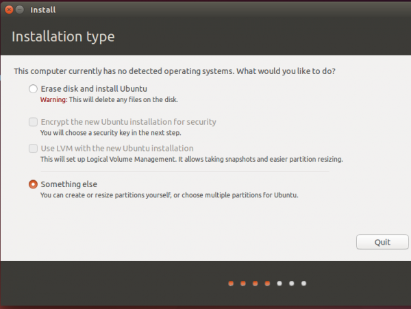 Ubuntu 14.04 partition methods