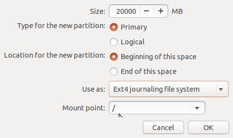 create Ubuntu 14.04 root partition