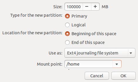 create Ubuntu 14.04 home partition