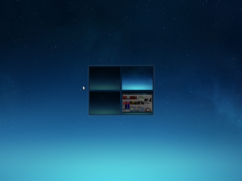 Deepin 2014 desktop comes with four workspaces, which you can access using hotkeys