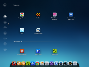Deepin 2014 app launcher comes with a category menu