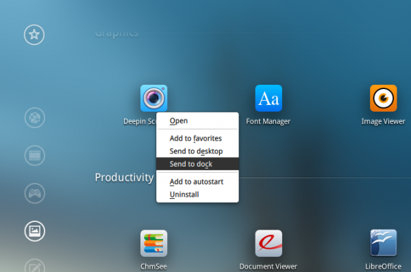 Deepin 2014 send to Dock