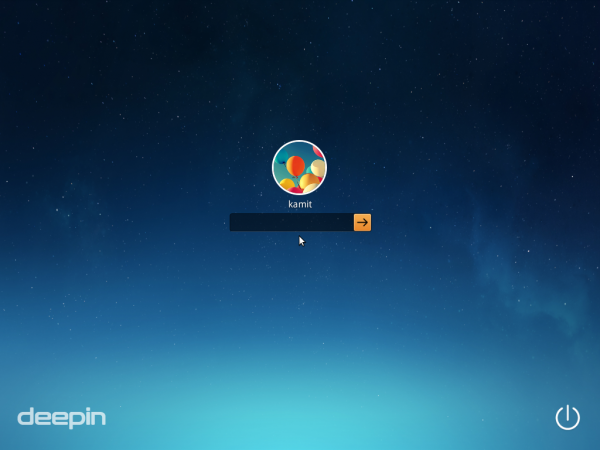Deepin 2014 Login screen