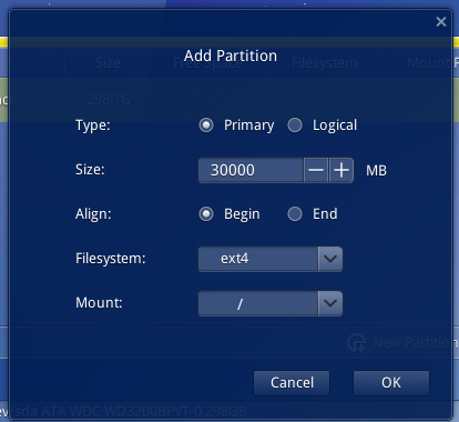 Deepin 2014 root partition