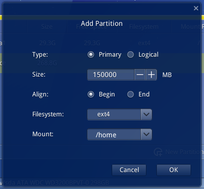 Deepin 2014 home partition