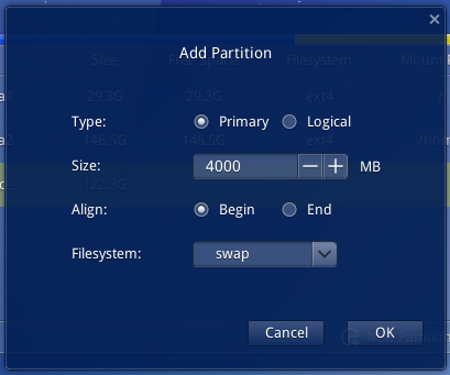 Deepin 2014 swap partition