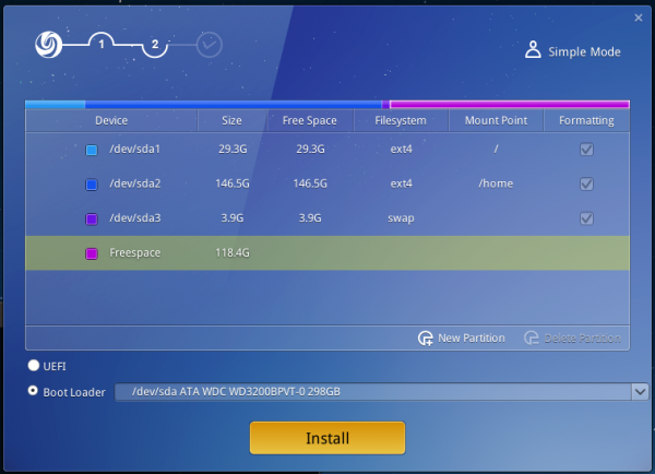 Deepin 2014 create partition manual