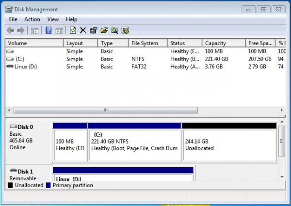Windows 7 UEFI partitions