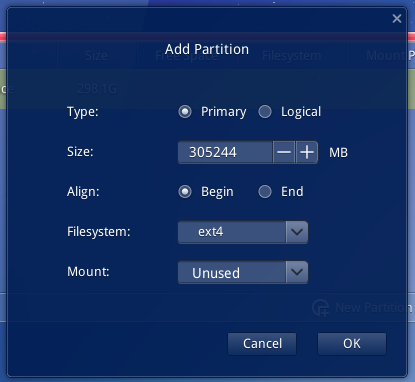 Deepin 2014 partition editor