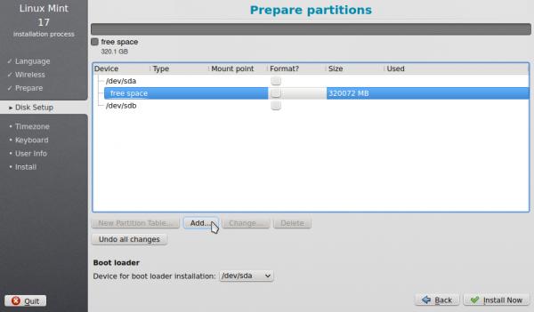 Linux Mint 17 KDE advanced partition tool