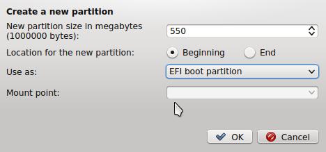 Linux Mint 17 KDE boot EFI partition