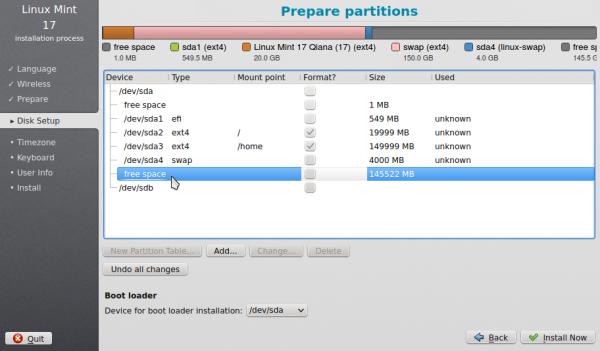 Linux Mint 17 KDE GPT EFI partition