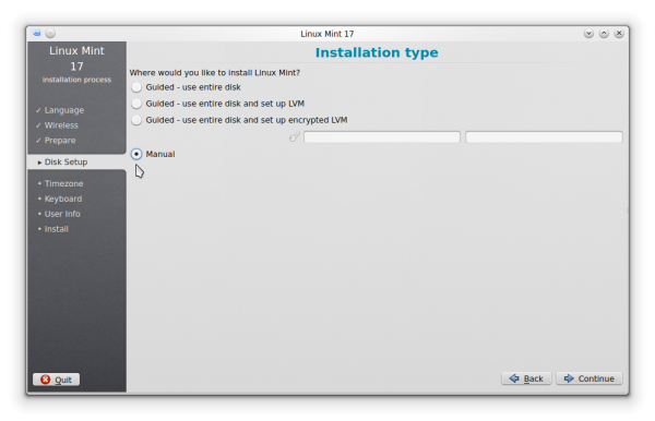 Linux Mint 17 KDE manual partition