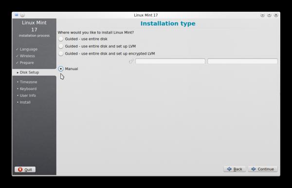 Linux Mint 17 KDE manual partition