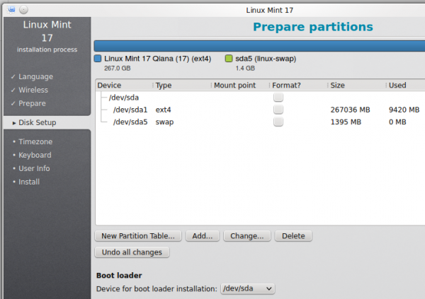 Linux Mint 17 KDE MBR partition
