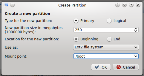 Linux Mint 17 KDE create boot partition