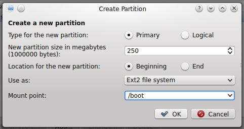 Linux Mint 17 KDE create boot partition