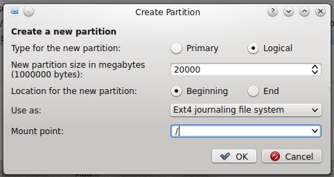 Linux Mint 17 KDE create root partition