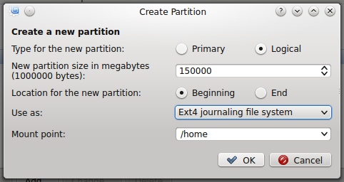 Linux Mint 17 KDE create home partition