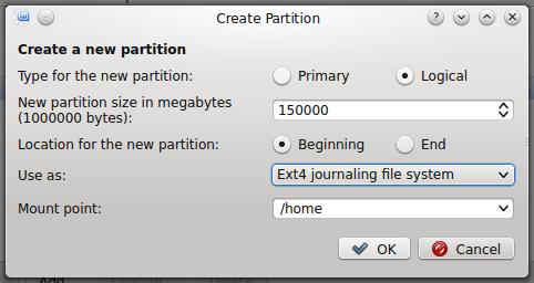 Linux Mint 17 KDE create home partition