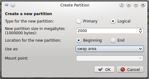 Linux Mint 17 KDE create swap partition