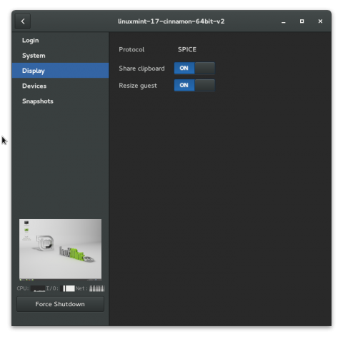 GNOME Boxes settings