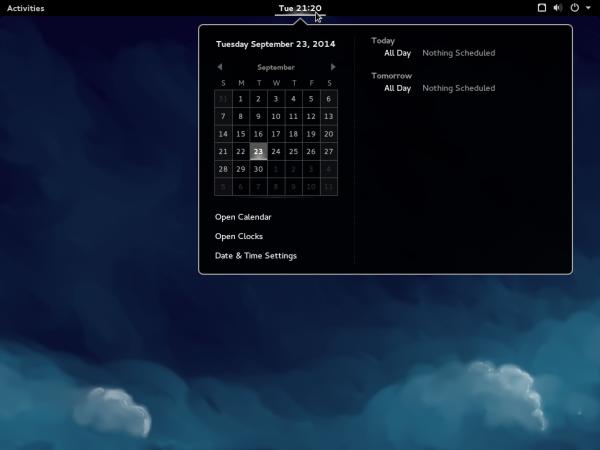 Fedora 21 GNOME 3 calendar