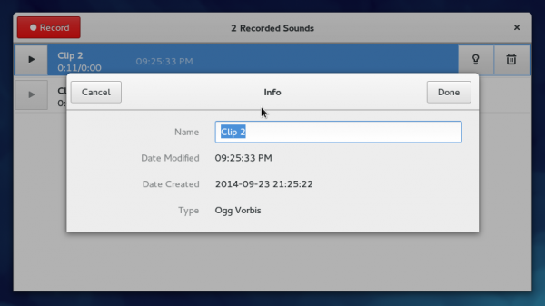 Fedora 21 GNOME 3 sound recorder