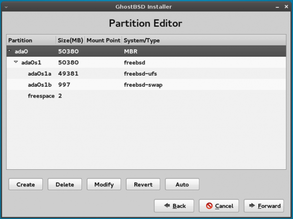 GhostBSD 4 manual partitions