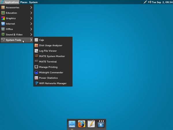 GhostBSD 4 MATE desktop menu
