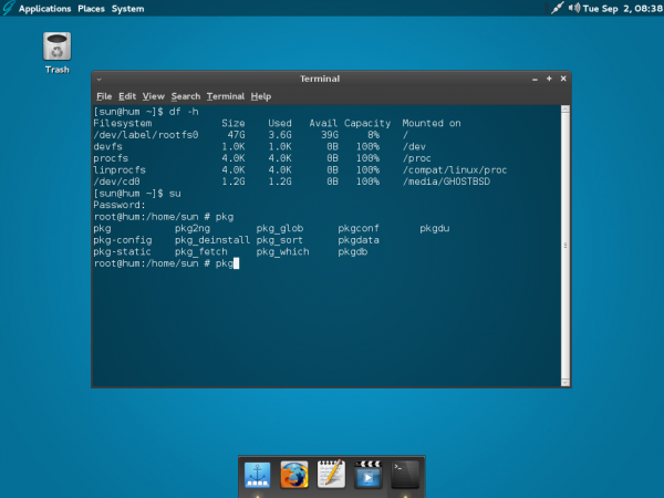 GhostBSD 4 MATE terminal
