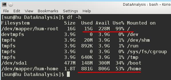 Linux df -h