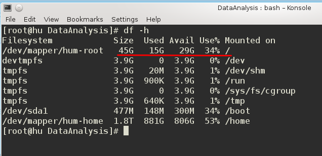 Linux display disk usage