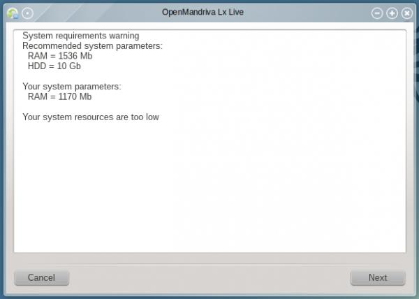 OpenMandriva install specs