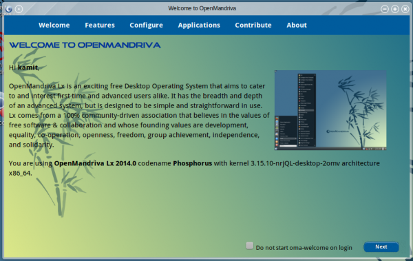 OpenMandriva 2014.1 OM Welcome