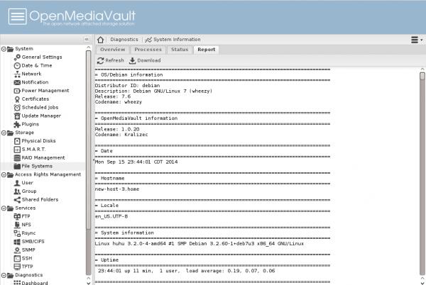 OpenMediaVault web ui