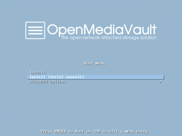 OpenMediaVault boot menu