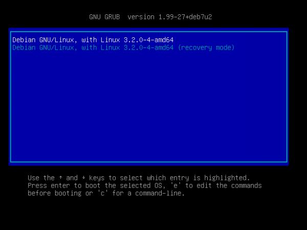 OpenMediaVault GRUB menu