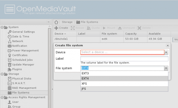 OpenMediaVault filesystems
