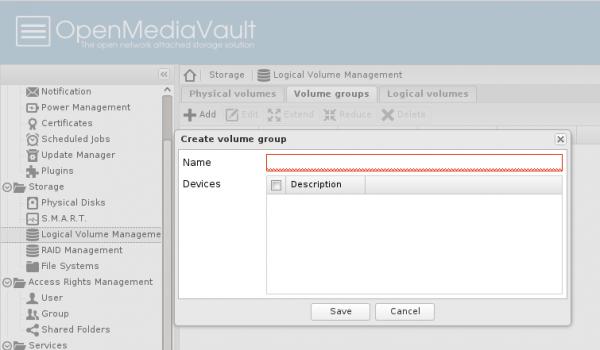 OpenMediaVault LVM
