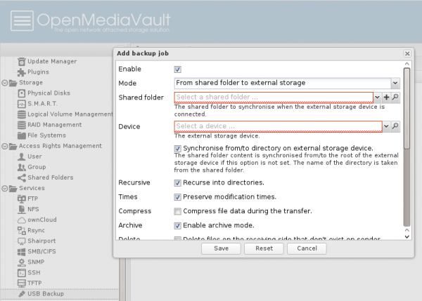 OpenMediaVault USB backup