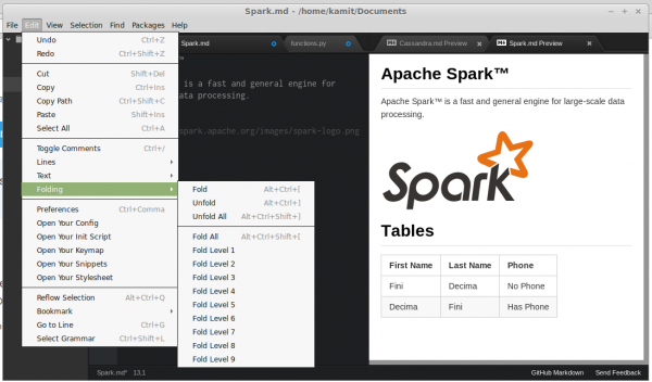 Atom Markdown editor settings