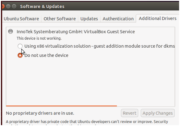 Additional Drivers Ubuntu 14.04