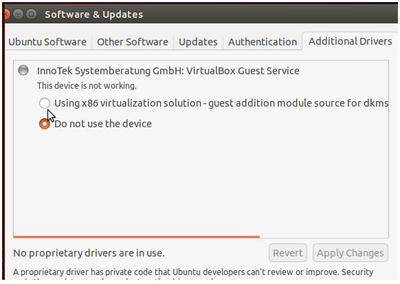 Additional Drivers Ubuntu 14.04