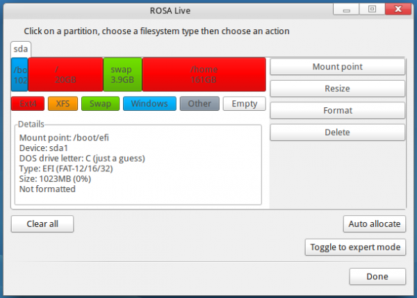 ROSA Desktop Fresh default partitions